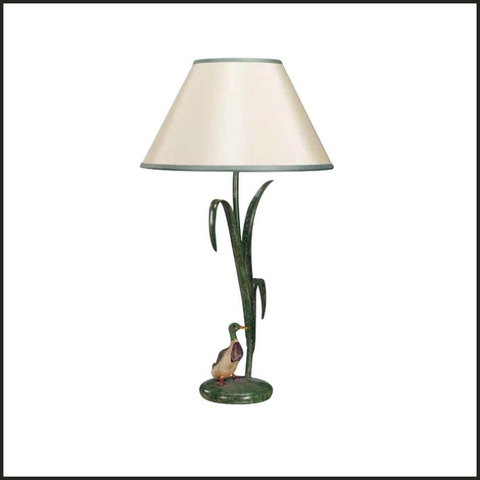 Green grass table lamp with duck