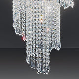 Lead crystal waterfall ceiling light with gold-plated frame