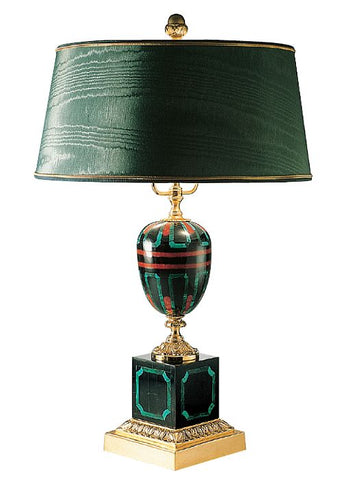Green malachite table light italian green red and black mosaic black shell coral and green malachite mosaic table lamp aloadofball Gallery