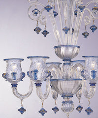 Clear Glass Murano Chandelier with Blue and Gold Trim