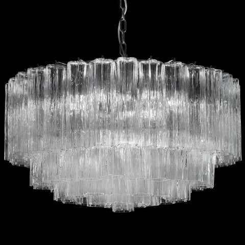 Mid-century 75 cm Tronchi-style drum chandelier in Murano glass