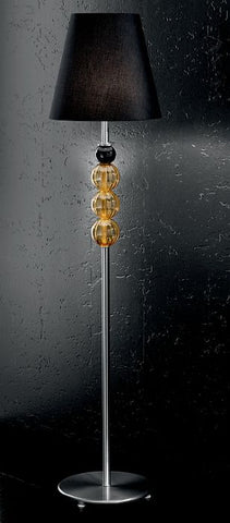 Modern Murano glass floor light with black and amber spheres