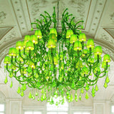 Large Crystal Glass Chandelier with Green Shades