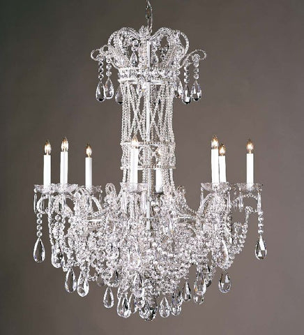8 light silver chandelier with Bohemian crystals