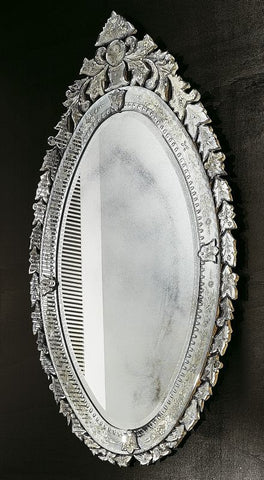 Large oval Venetian bevelled wall mirror