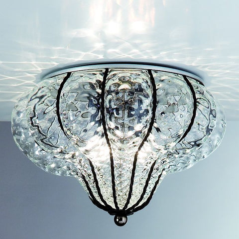 Clear Murano crystal ceiling light with baloton finish