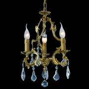 3 Light gold-plated crystal pendant chandelier