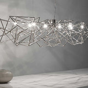 Large nickel 'Etoile' 130cm light ceiling chandelier from Terzan