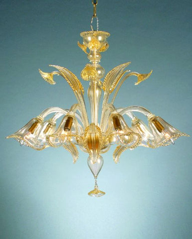 Murano crystal chandelier with 24 carat gold