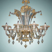 Clear and gold Murano glass floral chandelier
