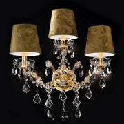 Swarovski pendant wall light with damask shades