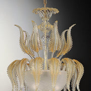 Murano pendant with 24 carat gold & clear glass leaves