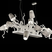 Fun and funky white or grey glass dining table chandelier