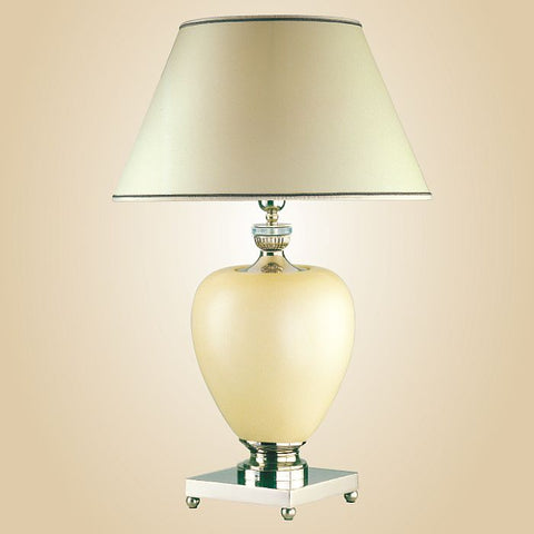Italian ivory white ceramic table lamp with crystal parts