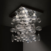 Modern Italian steel pendant with clear Murano glass spheres