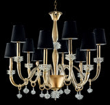 Exquisitely handcrafted 10 light Murano chandelier with 24 carat gold