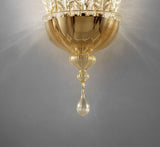 Clear Murano glass leaf wall light with gold or silver