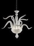 70 cm white and gold Murano glass art chandelier