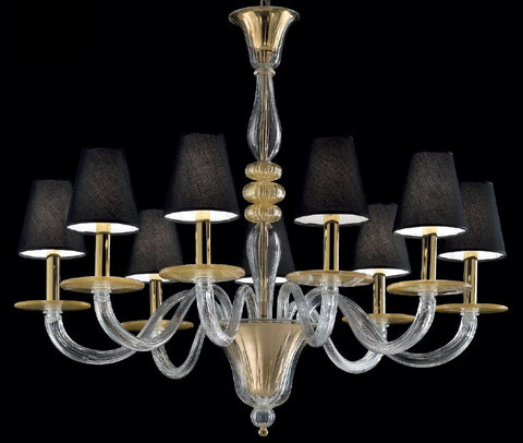 Elegant clear Murano glass chandelier infused with flecks of gold