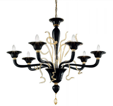 Unusual and quirky modern red or black Venetian chandelier in 4 sizes