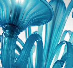 Contemporary turquoise blue hand-blown Murano glass chandelier in a range of sizes
