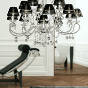 16 Light Chrome and Crystal Glass Chandelier