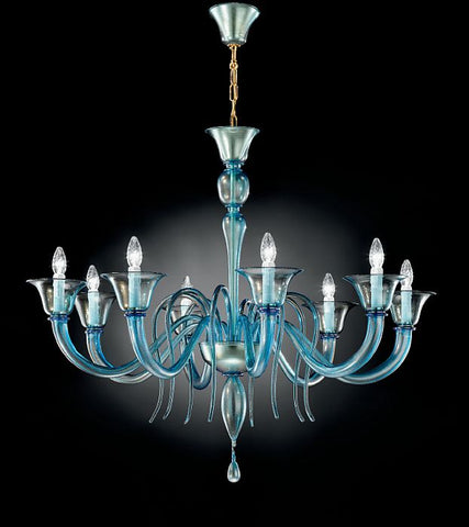 Beautiful aquamarine Murano glass chandelier with 8 lights