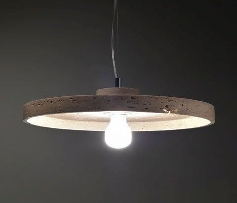 30 cm modern rustic Travertine or Carrara marble ceiling pendant