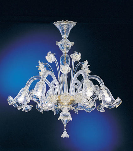 Murano 6 light chandelier with delicate clear glass flowers