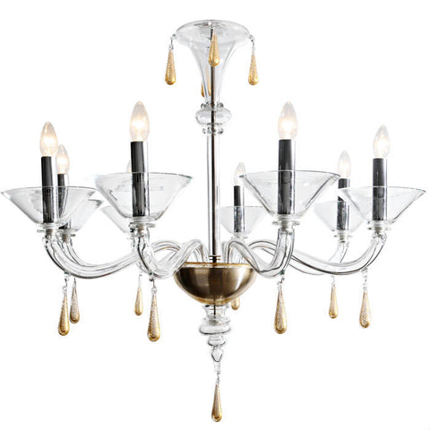 Venini clear Murano glass chandelier with gold decoration