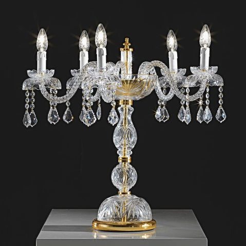 24% Italian lead crystal and gold flambeau lamp