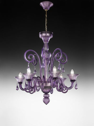 Violet 6 Light Murano glass chandelier
