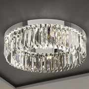 Luxurious modern mid-century crystal prism flush ceiling light