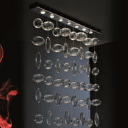 Slim ceiling light fitting with Murano glass bubbles