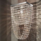 Contemporary cut crystal and chrome wall light