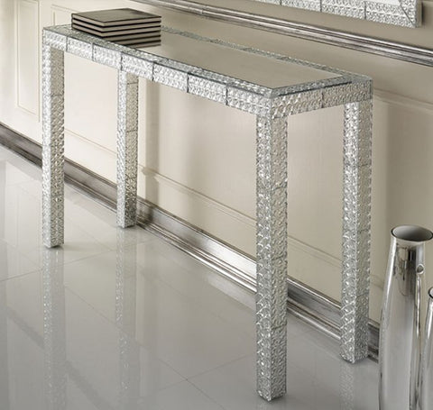 Venetian hallway table with bevelled mirror tiles