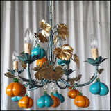 4 Arm Orange and Turquoise Pumpkin Chandelier