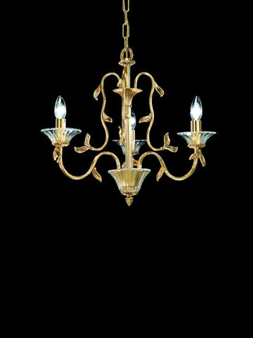 Golden 3 light Italian chandelier with Murano glass bobeches