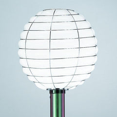 White Murano glass and 'scarab green' tall garden light