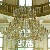 Large Gold Plated Crystal Glass Chandelier
