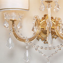 Three light Maria Theresa  crystal wall light with shades