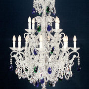 12 Light Silver Chandelier with Hand Cut Coloured Crystals