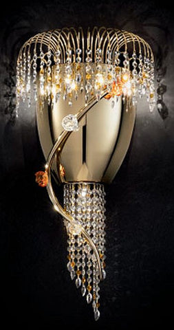 Amber Murano glass and Swarovski crystal wall light