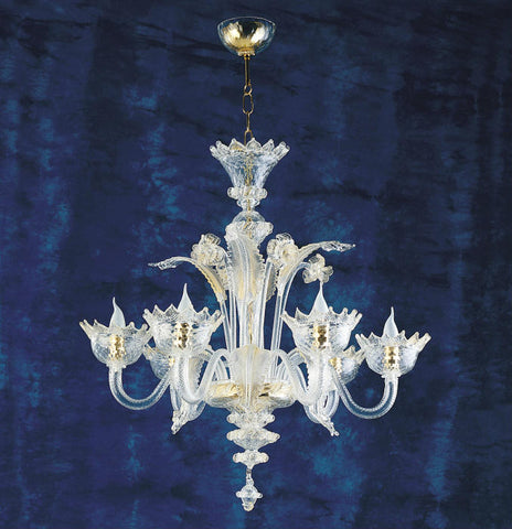 6 Light Murano crystal and gold chandelier