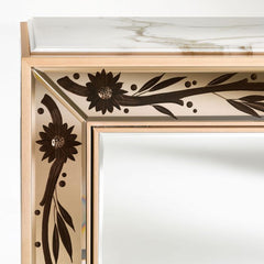 Maple cabinet with bronze Venetian mirrored glass inserts