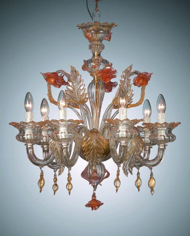 Small Murano chandelier with orange & gold glass flowers