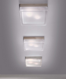 13 cm square white satin glass wall and ceiling light