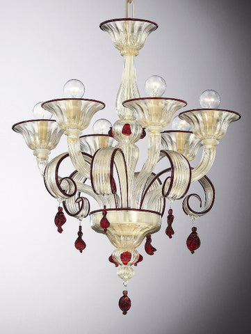Crystal, gold and red Italian chandelier