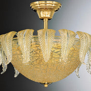 Venetian ceiling light with clear glass & gold leaves