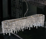 Clear curved glass crystal suspended light from Italy